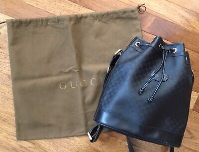 Authentic GUCCI vintage black bucket bag with original dust cover