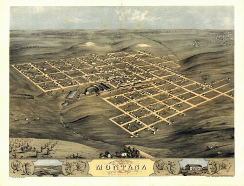 1868 MONTANA panoramic IOWA map BOONE county old IA 19