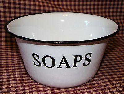 Vintage French Country White Enamel Soap Bowl Primitive chic Home Decor