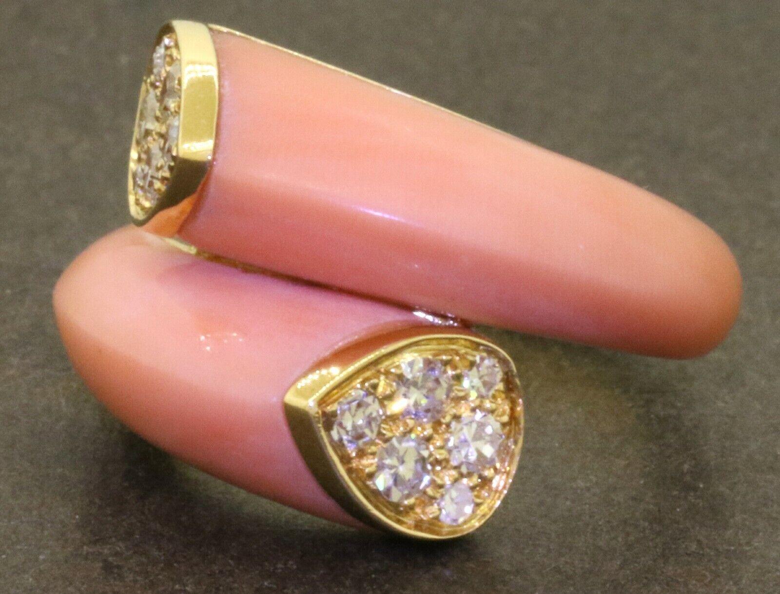 Van Cleef & Arpels Vintage18K .36CT VS1/F diamond & Angel Skin coral ring size5