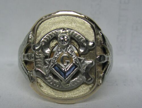 10K SOLID GOLD DIAMOND & SAPPHIRE MASONIC SOLID BACK RING