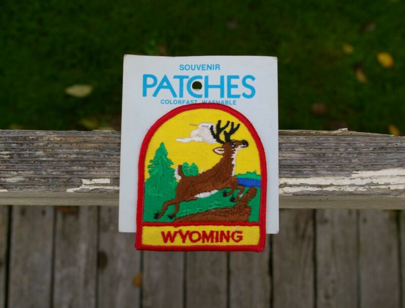 "Wyoming Embroidered Patch Novelty Souvenir by Holm 3 1/2"" x 3"" WY State Elk"