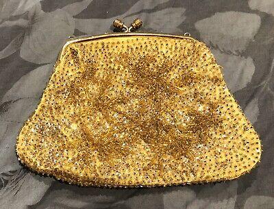 1950s Handbags, Purses, and Evening Bag Styles 1950s Vintage Gold Glass Beads Heavily Beaded Evening Bag Purse Diamante Clasp $26.21 AT vintagedancer.com