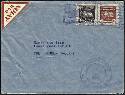 EL SALVADOR 1935 AIRMAIL COVER TO NETHERLANDS
