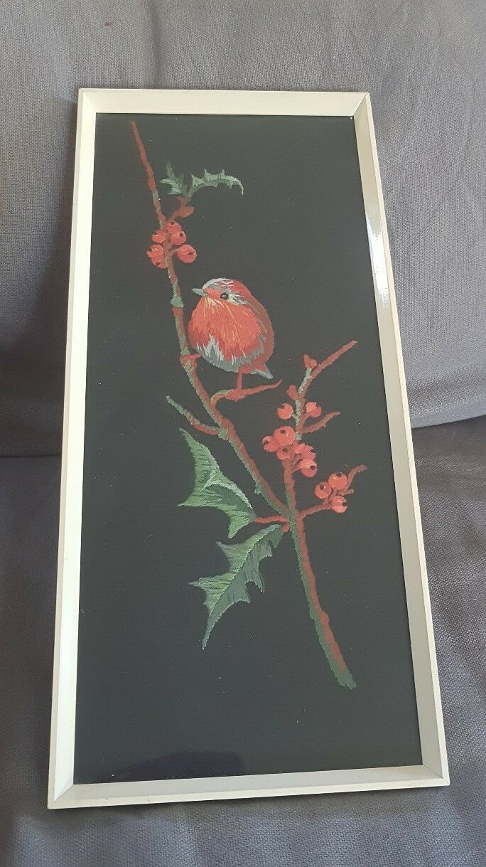 vintage retro 1960's embroiderd robin framed  picture