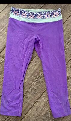 LULULEMON Run Inspire Crop II Power Purple Sz 8 Crop Leggings EUC