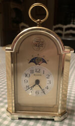 Vintage Tempus Fugit Goldtone Bulova Quartz  Classic Carriage Mantle Desk Clock