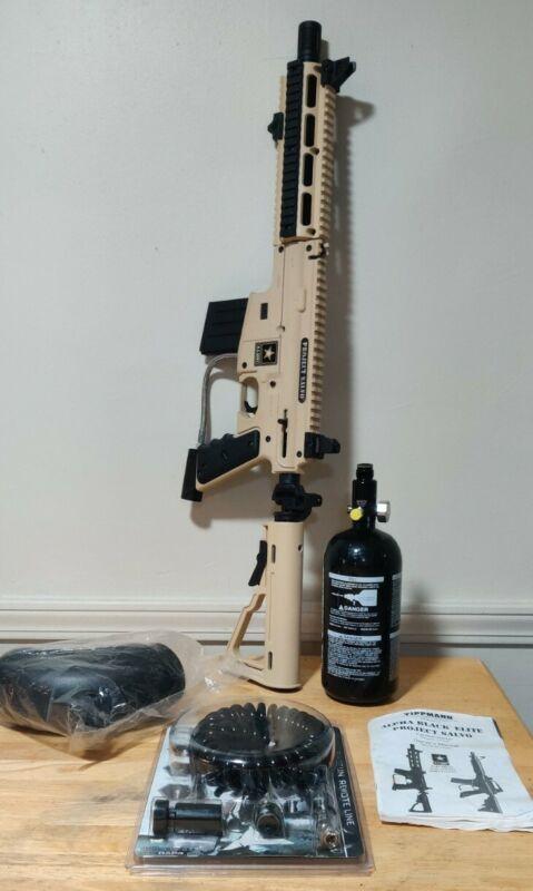 Tippmann US Army Project Salvo Paintball Gun W Extras TAN Paintball Marker