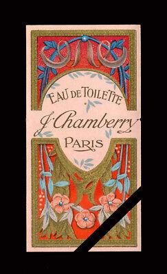 Antique French Art Nouveaue Perfume Label: Eau De Toilette - J. Chamberry, Paris Antique Label Art