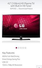 "***SOLD***LG 42"" Plasma Television 42PJ350  TV Wooloowin Brisbane North East Preview"