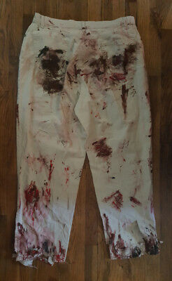 Extra Gory Hand Painted Zombie Khaki Pants Size 20 OOAK Costume   - Gory Costumes