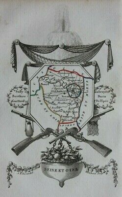 Miniature antique map, 'SEINE ET OISE', VERSAILLES, FRANCE, A. M. Perrot, 1824