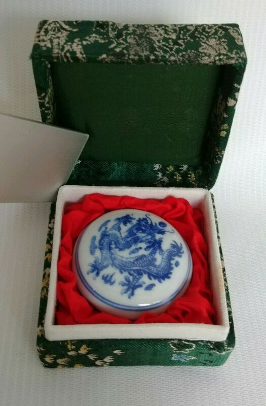 Vintage Chinese Traditional Red Stamp Ink in Porcelain Dragon Box