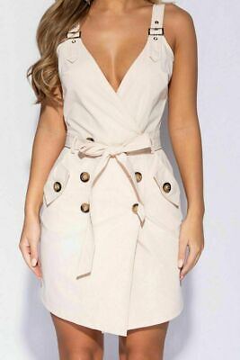 Womens Ladies Button Utility Wrap Over Plunge Strap Belted Mini Bodycon -