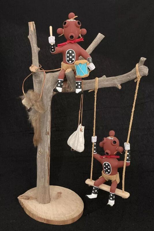 Native American Navajo Kachina 2 Mudhead Dolls on Tree.Signed. Beautiful.
