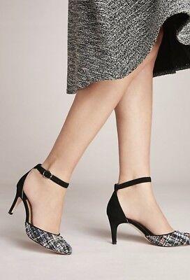 "Anthropologie Shoes Tweed Suede Stiletto black Ankle Strap 3""  38/ 8 NIB"