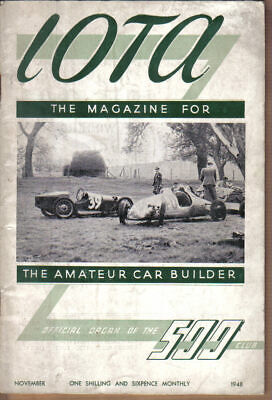IOTA 500cc Racing Club Magazine November 1948 Official Organ of the 500 Club