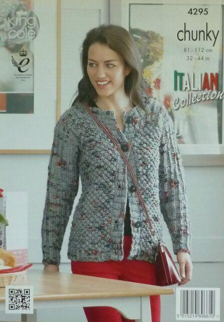 Ladies Cardigan Sweater In King Cole Chunky Yarn Knitting Pattern