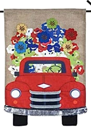red farm truck flowers floral spring summer
