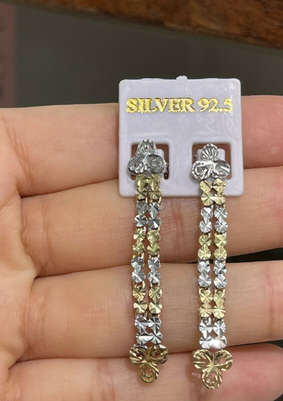 Pure 0.925 Silver Shiny Multicolor Diamond Cut Dangle Stud Earrings. 4 Grams