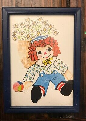 1975 RAGGEDY ANN DOLL Picture Vintage Rag Dolls Collectible Art Sketch Display  for sale  Katy