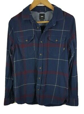 Vans Mens Long Sleeved Shirt Extra Small XS Tailored Fit Plaid Blue Flannel