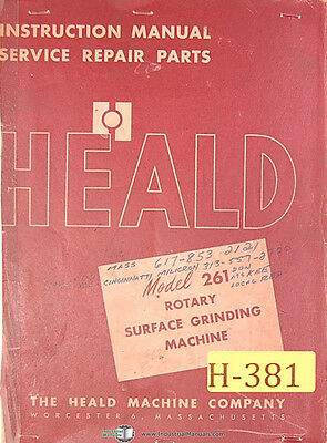 Heald No. 261 Rotary Surface Grinder Instructions Service And Parts Manual