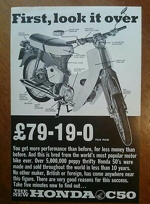 HONDA C50  -First look it over  Motorcycle Sales Spec Sheet - 1972 BROCHURE