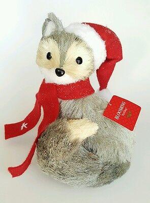 Blooming Holiday Straw Fox Gray Santa Hat Christmas Winter Decor Forrest Animal