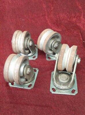 Set Of 4 Albion 16 Swivel Caster V-grove Wheel 2 Tread