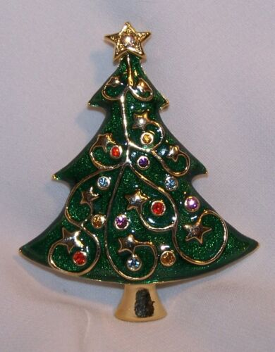 Christmas Tree Pin/Brooch-Enamel Rhinestones-Holiday Lane Macy
