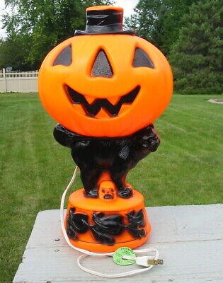 Vtg Empire Pumpkin Blow Mold Jack-O-Lantern Black Cat Witch Skull Lamp Halloween