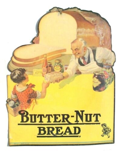 Vintage Grocery Store Butter-Nut Bread Cardboard Store Advertising Sign