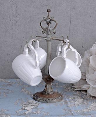 KAFFEEBECHER 4 Stück TASSEN WEISS Kaffeetassen Shabby Tassenständer Tassenbaum