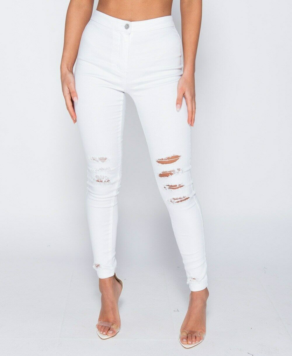 women high waist denim jeans stretch ripped