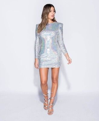 Silver Sequin Long Sleeve Mini Dress usato  Spedire a Italy