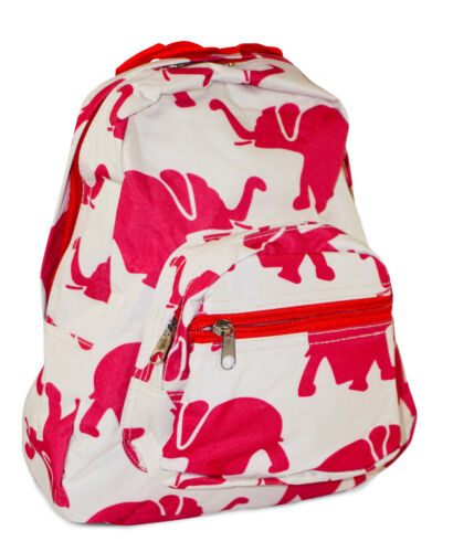Girls Kids Canvas Elephant Toddler Backpack Small Mini Preschool Red Africa