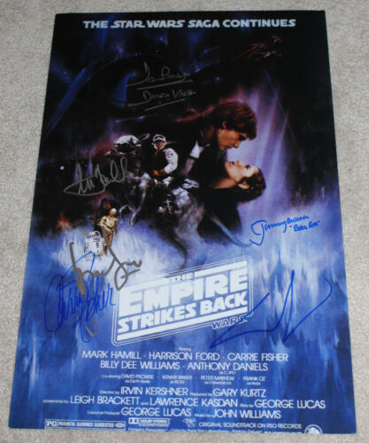 STAR WARS: THE EMPIRE STRIKES BACK SIGNED MOVIE POSTER X6 LUCAS BECKETT COA BAS