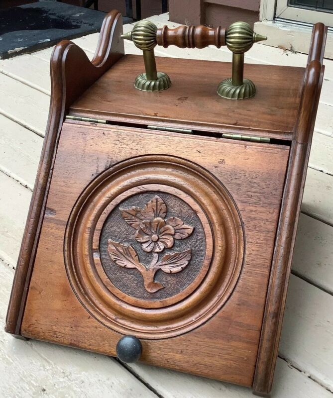 Vintage Wooden Carved Coal Scuttle Lid Handle Hearth Ware Wood Flower