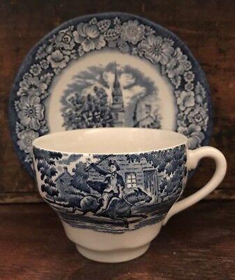 Liberty Blue Dinnerware - Vtg Liberty Blue Teacup Saucer Staffordshire England Dinnerware SEVERAL AVAIL
