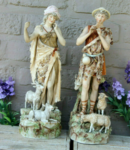 PAIR Royal dux bohemia porcelain figurines sheperd sheep animal statue marked
