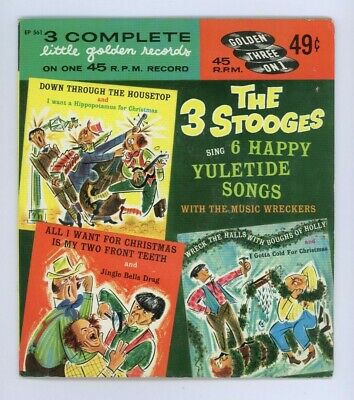 THREE STOOGES Yuletide Songs 1959 VINTAGE CHRISTMAS 45 Golden Records EP 561 ()