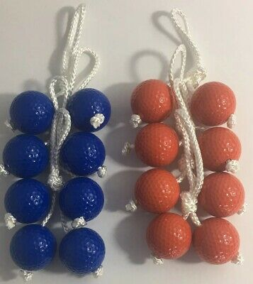 Ladder Toss/Golf Ball Game  Replacement Hard Bolas – 4 Blue 4 Red Ball (8 Bolas)