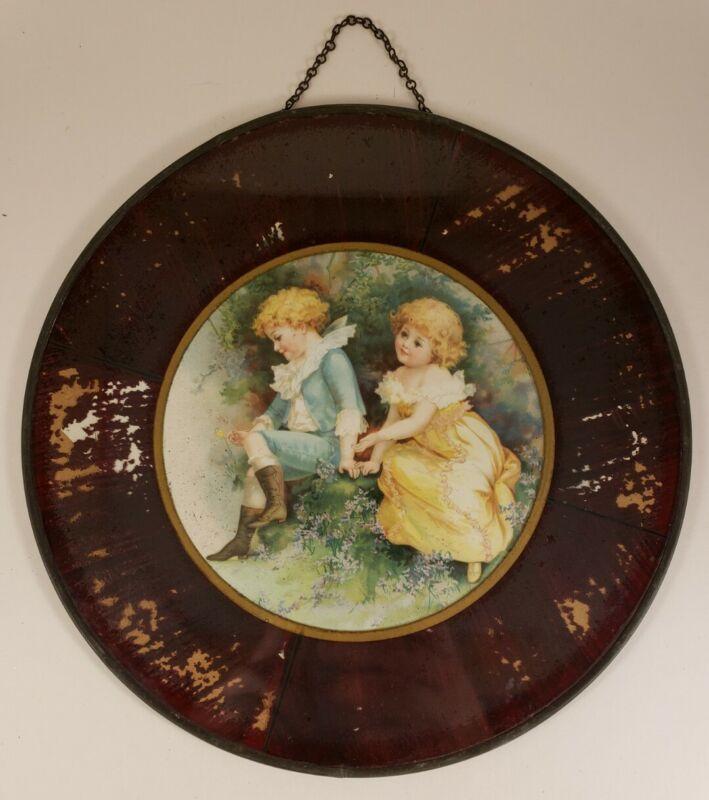 "Antique Flue Cover - Seated Boy Girl - 9 1/2"" Frame"