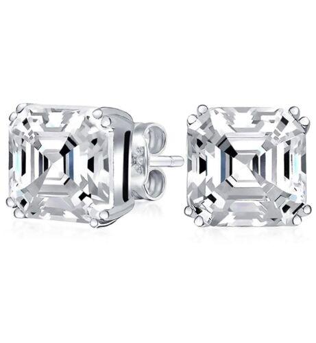 925 Sterling Silver 2.00CTTW Asscher Cut Stud Earrings 6MM For Women