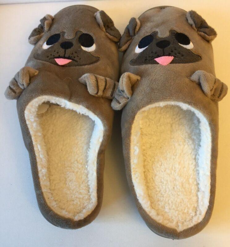 Pug 3 Dimensional Slippers Size 8-9 So Cute