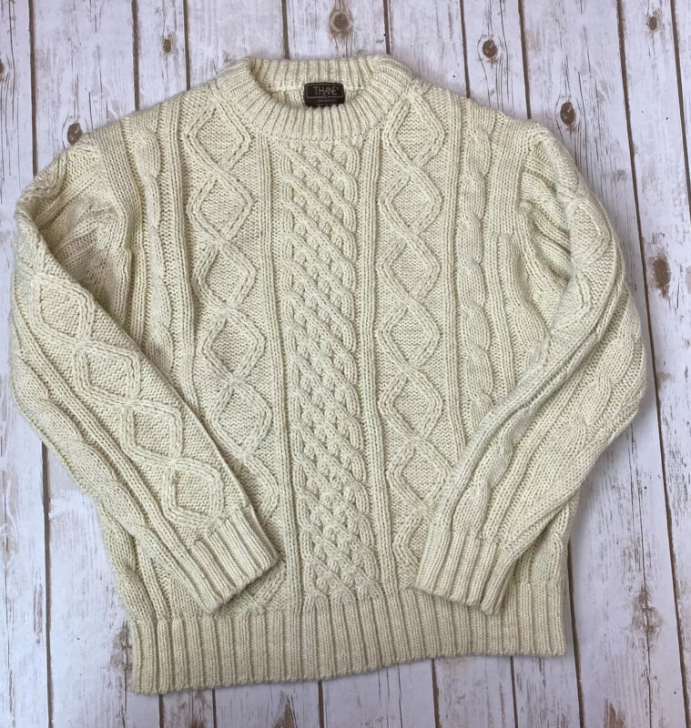 VTG Thane Cable Knit Fisherman Pullover Crewneck Sweater Chunky XL - Runs Small