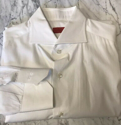 ISAIA Dress Shirt Size 41 16 Solid White Button Up Long Sleeve Dress Shirt