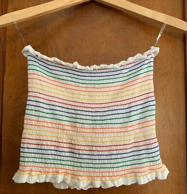 Rainbow Tube Top (Heart & Hips White Rainbow Tube Top Strapless Casual Pride-Rainbow Colors)