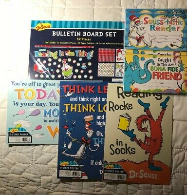Dr Seuss Classroom Lot-Bulletin Board Kit-3 Posters-4 Packs of Awards for School](Dr Seuss Poster)